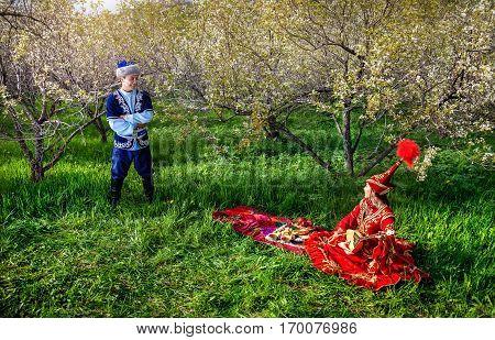Kazakh Couple In The Garden