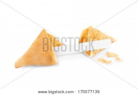 Fortune cookie with blank message isolated on white