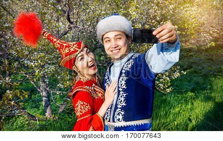 Funny Kazakh Couple In The Garden