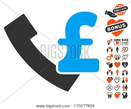 Pound Payphone pictograph with bonus dating graphic icons. Vector illustration style is flat iconic elements for web design app user interfaces.