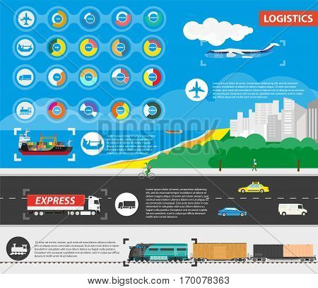 Logistics best delivery means of transportation. Rounds diagrams with pros and icons of delivery by plane in air, ship in sea, truck on highway and train on railroad, text information near signs