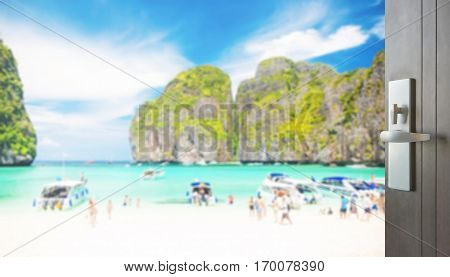 Opened Wooden Door To Beautiful Beach With Tourist At Maya Bay, Phi Phi Leh Island, Thailand