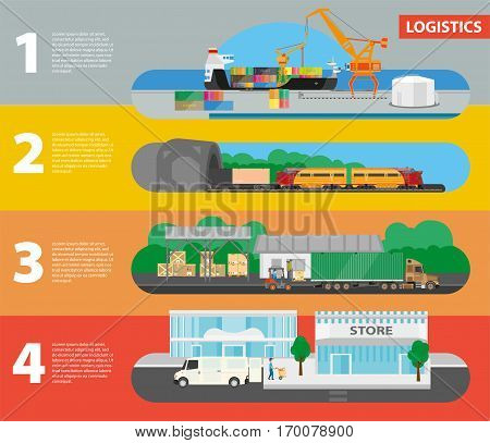 Logistics gradual vector concept of goods delivery to store. Unloading of ship, transportation by train, loading truck in warehouse and receiving by store parcels numbered horizontal picture steps
