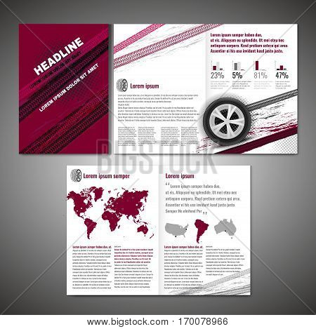 Vector tyre brochure template. Modern idea for flyer, book, booklet, brochure and leaflet design. Editable graphic layout with copyspace in grey, white, red and black colors