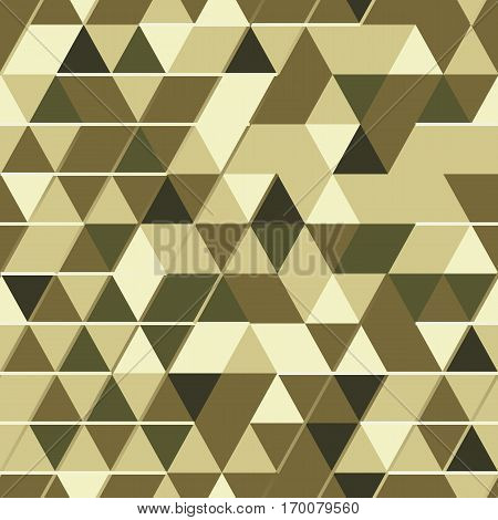 Khaki seamless pattern with triangular digital protection ornament and lines