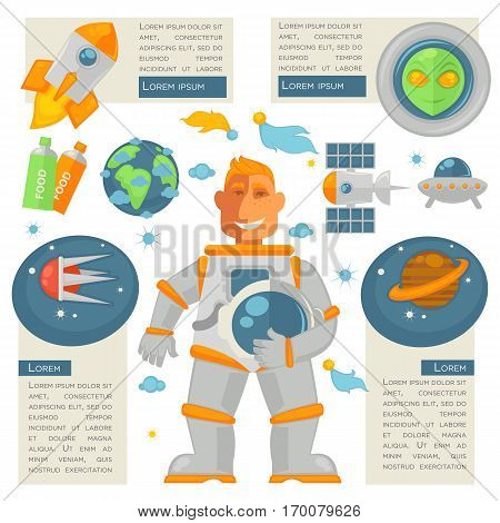 Astronaut topic poster with spaceman and outer space units. Cosmonaut holding helmet with signs of rocket, food tubes, falling comets, green alien, spaceship. Vector web banner of space elements