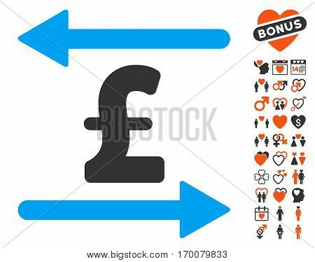 Pound Transactions icon with bonus love icon set. Vector illustration style is flat iconic elements for web design app user interfaces.