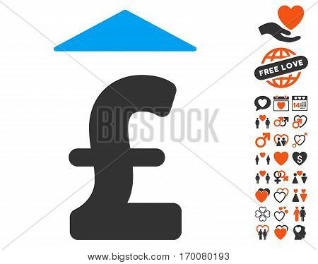 Pound Up icon with bonus decorative pictograms. Vector illustration style is flat iconic symbols for web design app user interfaces.