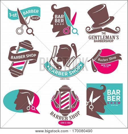 Gentleman's barber shop logotype symbols vector set on white. Hairdresser logo stickers. Opened scissors near labels, man head silhouette, straight razors, hat with moustache, glass flask, first shop