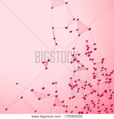 Hearts connected background for social network and Valentines Day