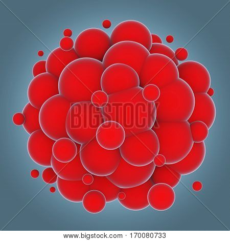 Abstract cluster of colorful red spheres. 3D rendering