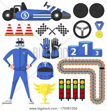 Carting rally car and victory symbols collection. Vector poster of autopilot, blue helmet and gloves, sportscar, black wheels and helm, golden cup and medal, winning platform, traffic lights and way