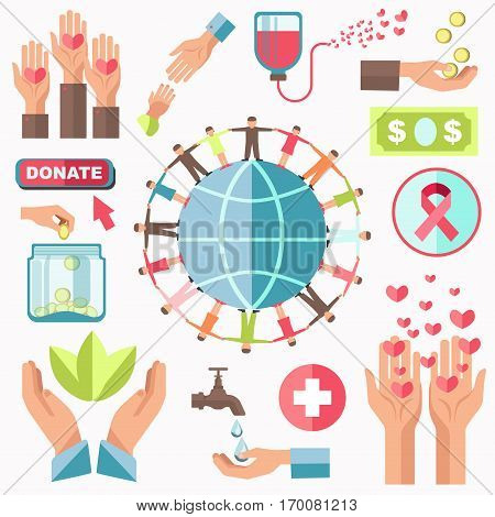 Charity concept vector set. People holding hands stand around round planet. Signs of blood transfusion, money donating, washing hands, hearts in arms, AIDS emblem and adult hand reaching children