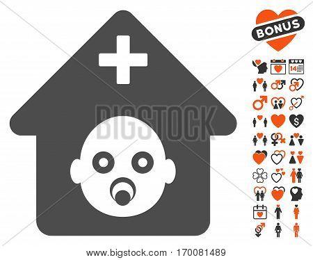 Prenatal Hospital pictograph with bonus valentine symbols. Vector illustration style is flat iconic symbols for web design, app user interfaces.