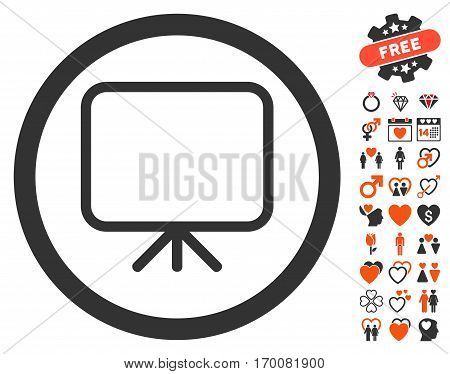 Presentation Screen icon with bonus decoration pictures. Vector illustration style is flat iconic elements for web design, app user interfaces.