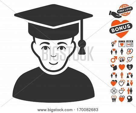 Professor icon with bonus lovely graphic icons. Vector illustration style is flat iconic elements for web design, app user interfaces.