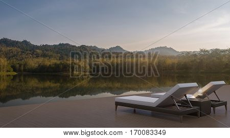 Lake house terrace and beautiful nature view 3d rendering image. A place surrounded by nature There are wood floor and rattan furniture