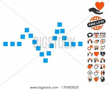 Pulse Chart pictograph with bonus dating pictograms. Vector illustration style is flat iconic symbols for web design, app user interfaces.
