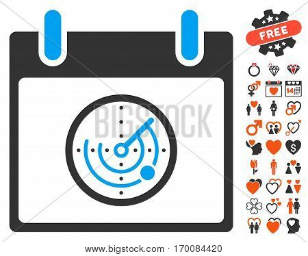 Radar Calendar Day icon with bonus dating pictograph collection. Vector illustration style is flat iconic symbols for web design, app user interfaces.