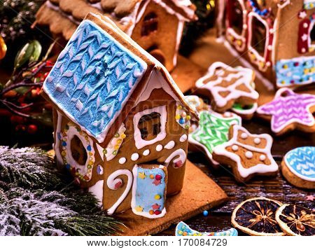 Gingerbread House with blue roof in foreground. Several Christmas gingerbread houses in the background.