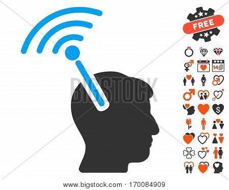 Radio Neural Interface icon with bonus dating clip art. Vector illustration style is flat iconic elements for web design, app user interfaces.
