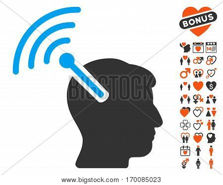 Radio Neural Interface pictograph with bonus love symbols. Vector illustration style is flat iconic elements for web design, app user interfaces.