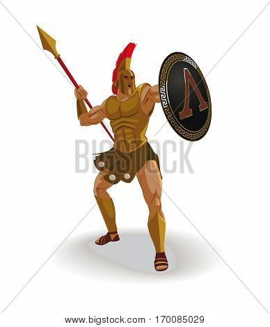 Angry spartan warrior with armor and hoplite shield shouted and throwing a spear