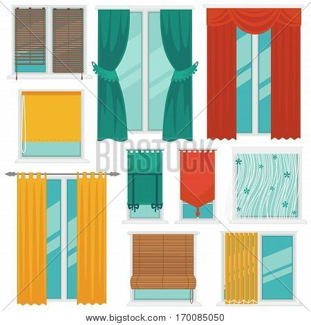 Curtains on windows colourful vector collection on white. Curtains made of yellow, green and red cloth with rounds on top or decorative pickups, of plastic and long white elements on windows