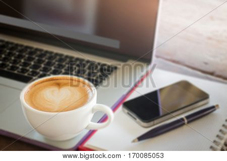 Coffee latte on work table stock photo