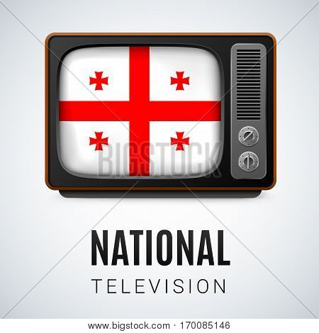 Vintage TV and Flag of Georgia as Symbol National Television. Tele Receiver with Georgian flag