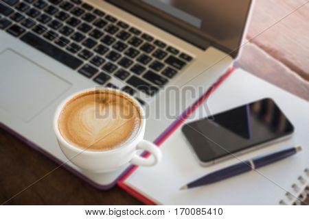 Coffee latte on work table stock photo