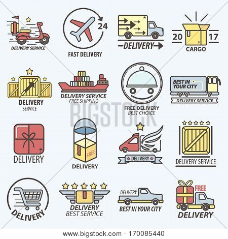 Delivery logos set. Fast free delivery service means of transportation logo set. Vector poster of speedy transports in air, sea and on road, carton boxes. Best delivery logotypes advertisement banners