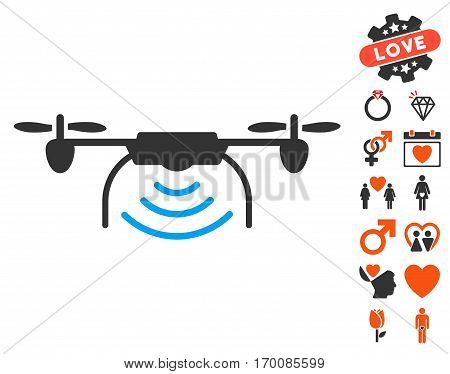 Radio Transmitter Airdrone pictograph with bonus marriage pictures. Vector illustration style is flat iconic elements for web design, app user interfaces.