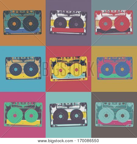 Audiocassette retro popart music seamless background. Audiocassette illustration pop-art seamless pattern. Retro audio cassettes, pop art style, seamless. Vintage styled retro music seamless pattern