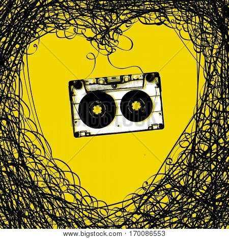 Concept illustration. Retro music background. Heart from tape and audiocassette