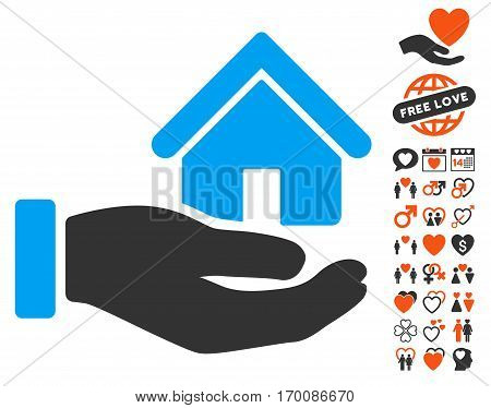Real Estate Offer Hand pictograph with bonus marriage graphic icons. Vector illustration style is flat iconic elements for web design, app user interfaces.