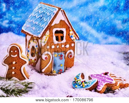 Rural house of gingerbread houses, close-up. Joyful Gingerbread man in snow. Merry Christmas food concept.