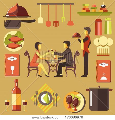 Vector illustration of dating in restaurant and signs of hot dishes, menu and wine cart, kitchen tools. Waiter with tray stands near couple that spends time at table in restaurant and drinks red wine.
