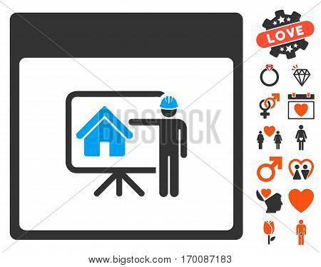 Realty Developer Calendar Page icon with bonus decoration images. Vector illustration style is flat iconic symbols for web design, app user interfaces.