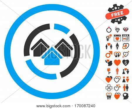Realty Diagram icon with bonus decorative design elements. Vector illustration style is flat iconic elements for web design, app user interfaces.