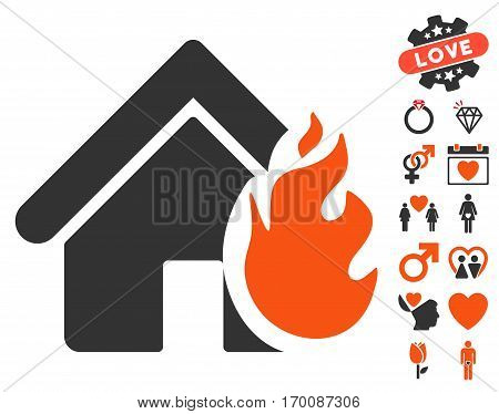 Realty Fire Damage icon with bonus passion symbols. Vector illustration style is flat iconic symbols for web design, app user interfaces.