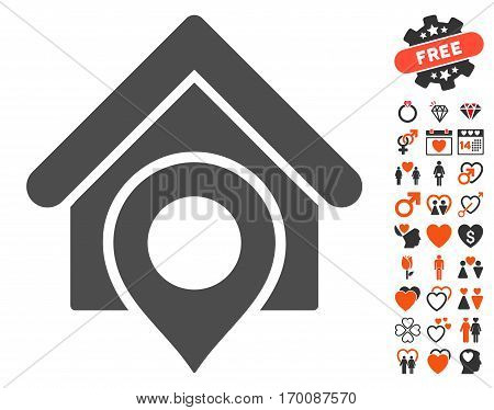 Realty Location pictograph with bonus passion symbols. Vector illustration style is flat iconic elements for web design, app user interfaces.