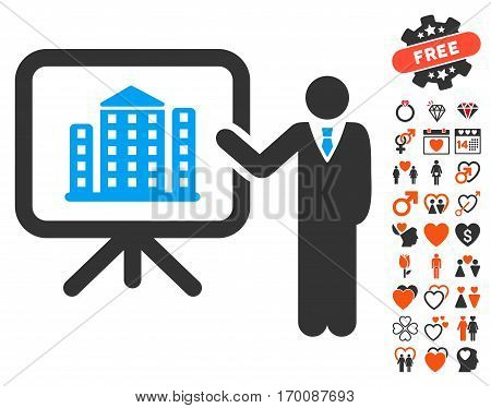 Realty Presention pictograph with bonus marriage design elements. Vector illustration style is flat iconic elements for web design, app user interfaces.
