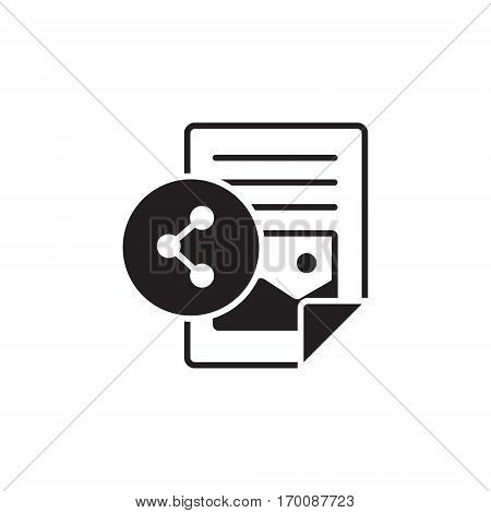 Vector icon or illustration showing web site content with with text file and share sign in one balck color