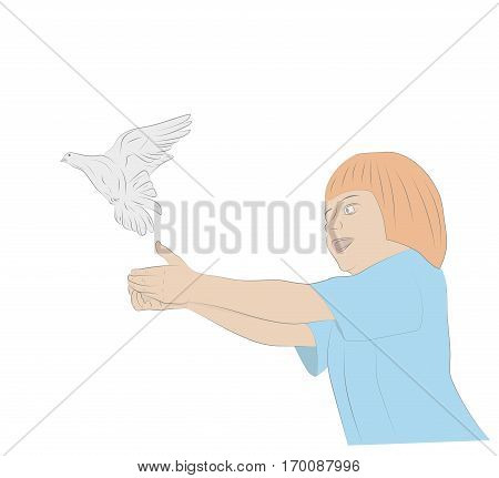 Girl with hands releasing a bird. vector illustration.