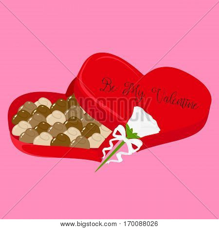 Illustration of a Valentine's heart shaped chocolate box and a white rose decorated with white ribbon.