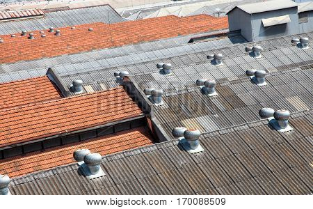Many roofs of old industrial building