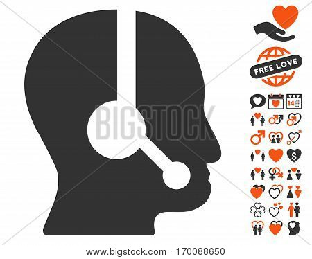 Call Center Operator icon with bonus romantic images. Vector illustration style is flat iconic symbols for web design, app user interfaces.