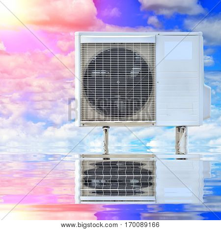 air conditioning on blue sky background with reflect