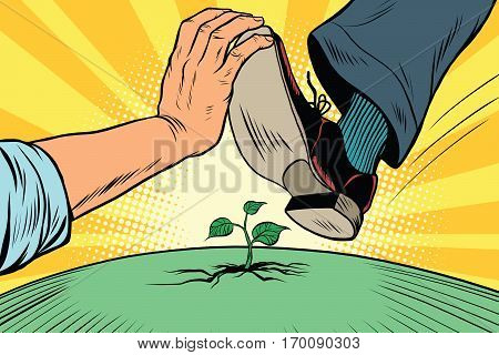 Activist to protect nature. The human foot comes to green sprout, ecology. Pop art retro vector vintage illustration. Earth day and eco policy